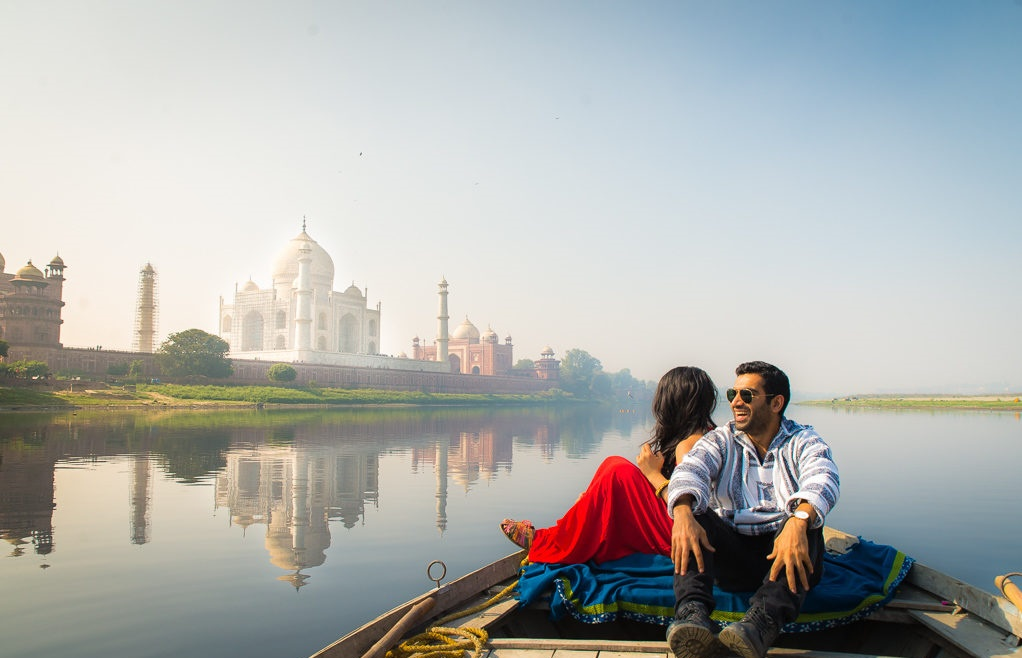 taj mahal from boat photography tour of northern india