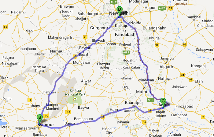 india golden triangle cities on map