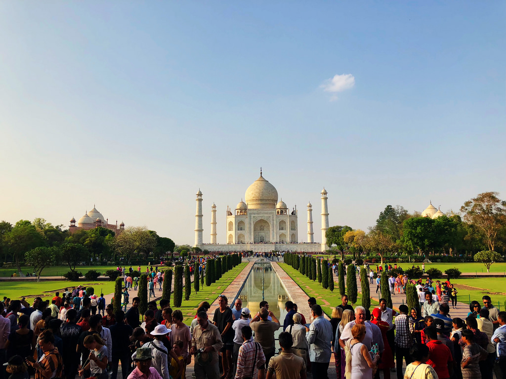 millions of travellers and history followers make it possible to mark their presence at taj mahal